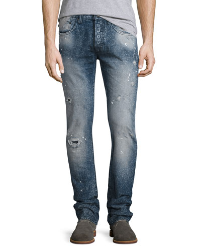 Distressed Spay-Bleached Relaxed Slim Jeans, Indigo