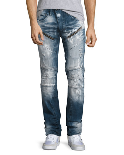 Distressed Moto Jeans w/Paint, Indigo