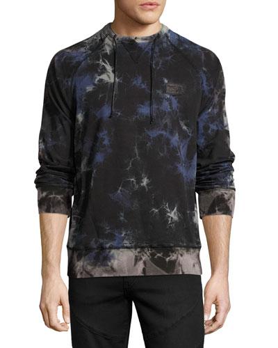 Multi-Stained Raglan Sweatshirt, Black