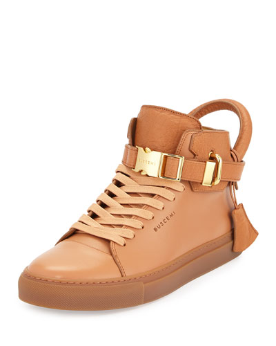100mm Bison High-Top Sneaker, Peanut
