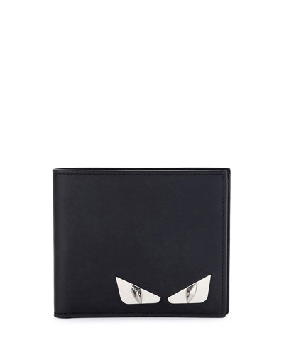 Monster Eyes Leather Bi-Fold Wallet, Black