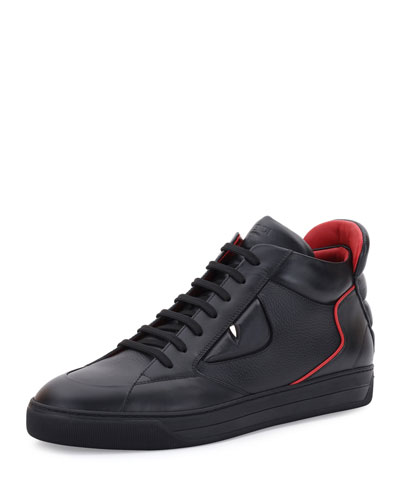 Monster Eyes Leather Mid-Top Sneaker, Black