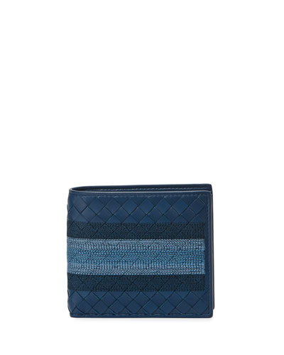 Embroidered Intrecciato Leather Bi-Fold Wallet
