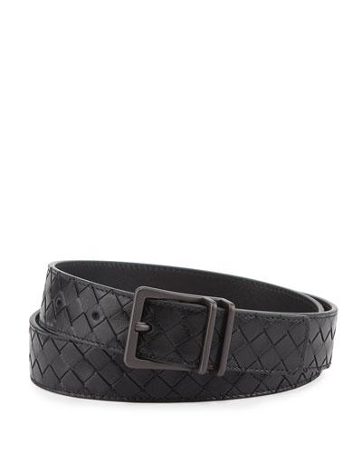 Men's Intrecciato Calf Leather Belt, Black