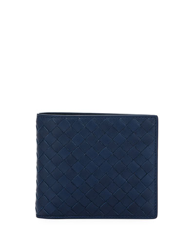 Bi-Fold Intrecciato Leather Wallet, Pacific (Navy)