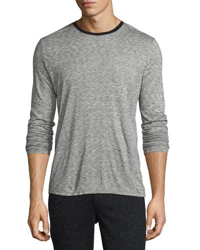 Long-Sleeve Melange Ringer T-Shirt, Charcoal