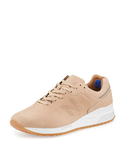 Leather Low-Top Sneaker, Tan