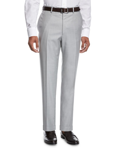 Virgin Wool Twill Trousers, Pearl Gray