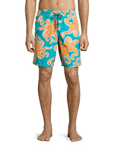 Okoa Octopus-Print Swim Trunks, Blue/Orange