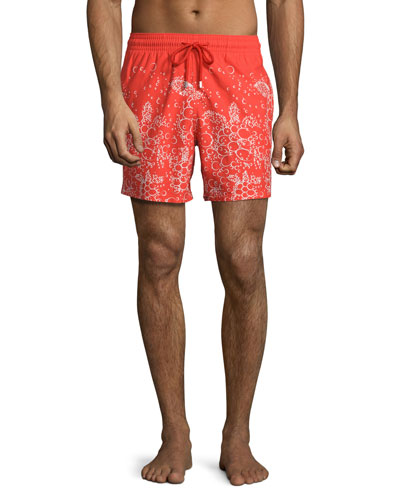 Moorea Bubbles Turtles Printed Swim Trunks, Red