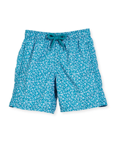Jim Micro-Turtle Printed Swim Trunks, Blue Pattern, Boys' 2-8