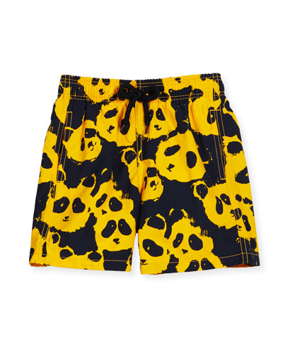Jim Panda Printed Swim Trunks, Turmeric, Boys' 2-8