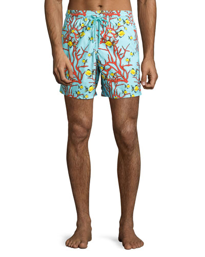 Moorea Coral & Fish Swim Trunks, Turmeric