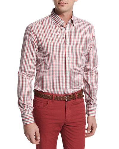 Plaid Cotton Sport Shirt, Red/Tan