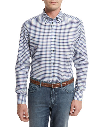 Graph-Check Sport Shirt, Blue/White