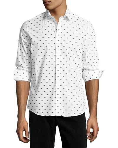 Iconic Eye Slim-Fit Sport Shirt, White