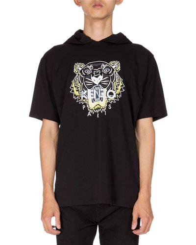 Tiger Icon Short-Sleeve Hoodie, Black