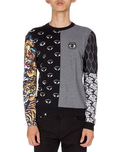 Patchwork Icon Instarsia Sweater, Black