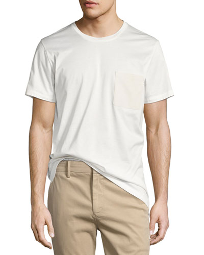 Leather-Pocket Cotton Jersey T-Shirt, Ivory