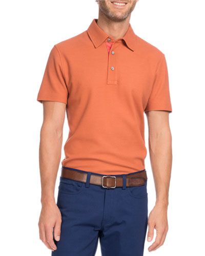 Cotton-Silk Polo Shirt, Orange