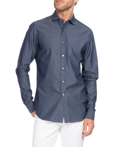 Chambray Sport Shirt, Indigo