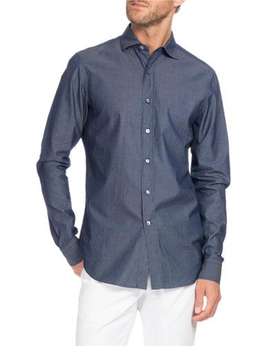 Chambray Sport Shirt, Indigo