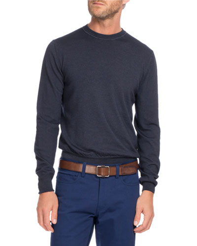 Wool Crewneck Sweater, Navy Blue