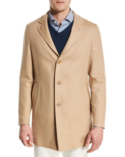 Short Cashmere Three-Button Coat