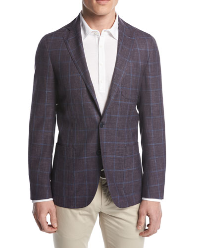 Andorra Windowpane Two-Button Sport Coat