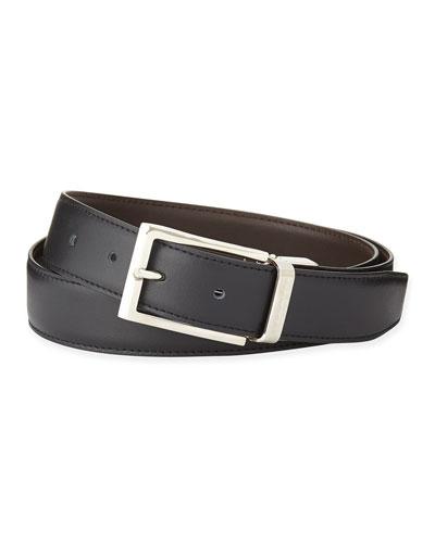 Reversible Belt w/Polished Buckle, Black/Dark Brown