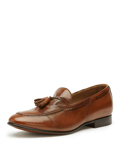 Men's Aiden Leather Tassel Loafer, Brown