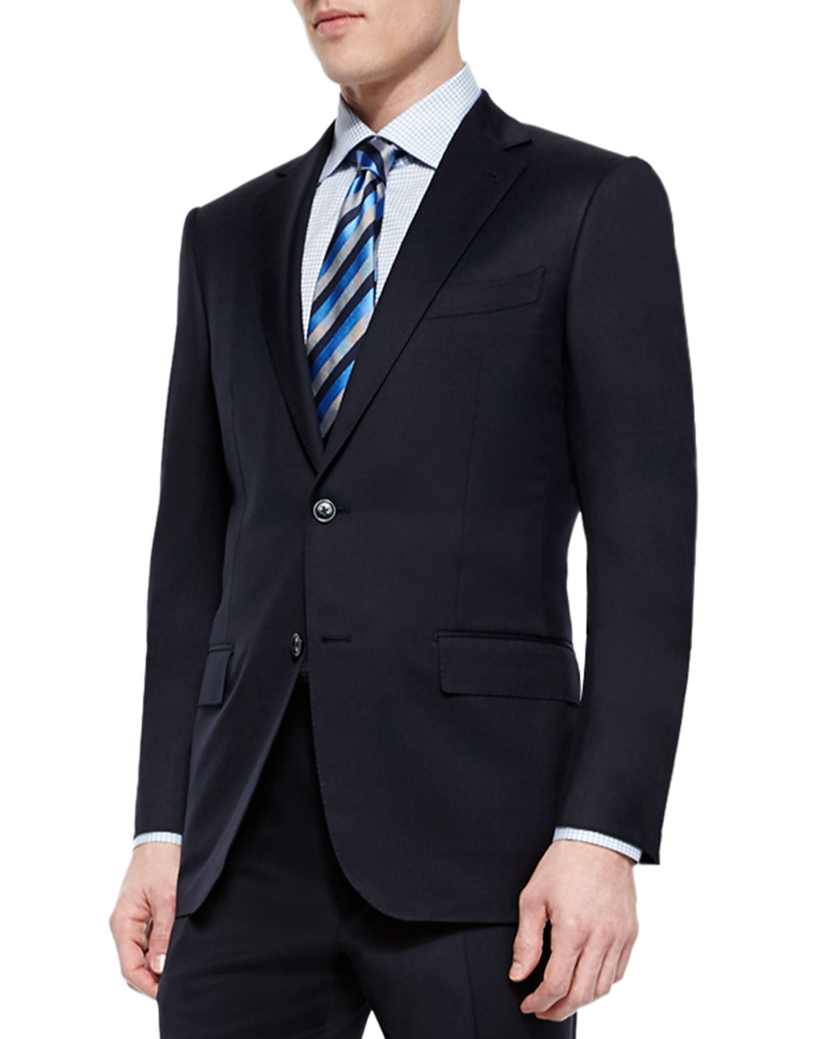 Ermenegildo Zegna Suits SOLID TWO-PIECE SOLID WOOL SUIT