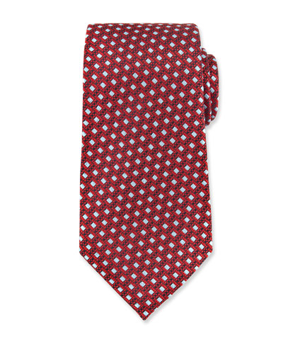Woven Boxes Neat Silk Tie, Red