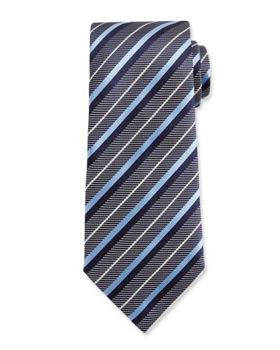 Diagonal-Stripe Woven Silk Tie, Blue