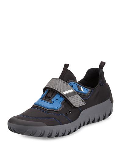 Colorblock Neoprene Scuba Sneaker, Black/Blue