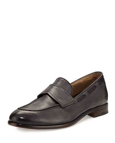 Il Mocassino Leather Penny Loafer, Gray