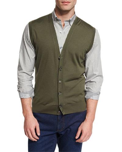 High Performance Merino Wool Cardigan Vest, Green