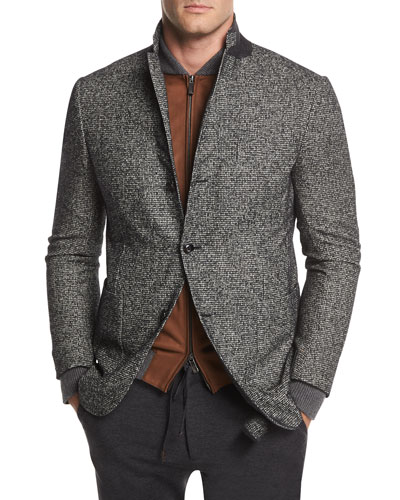 Check Wool-Blend Two-Button Blazer