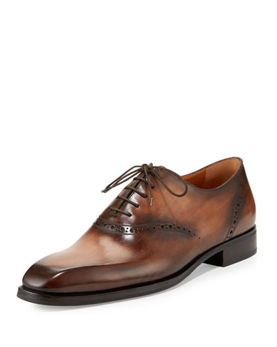 Burnished Leather Brogue Shoe, Brown