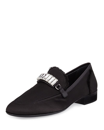 Men's Frayed-Silk Rhinestone-Embellished Formal Loafer, Black