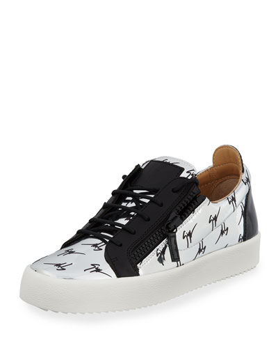 Men's Logo Patent Leather Low-Top Sneaker, Silver/Black
