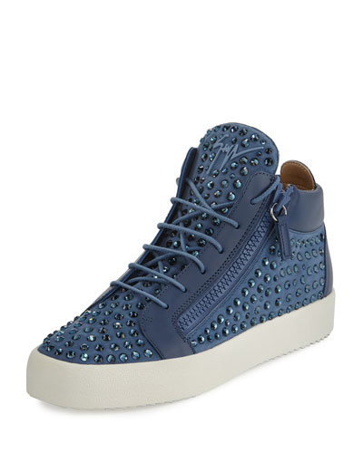 Men's Suede Rhinestone-Embellished Mid-Top Sneaker, Light Blue Denim