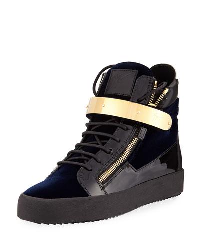 GIUSEPPE ZANOTTI Men'S Velvet High-Top Sneaker With Golden Bar, Navy