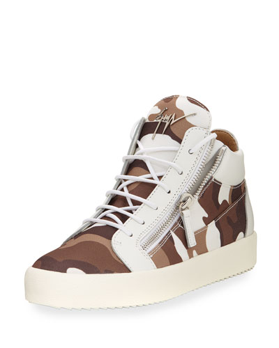 Men's Camouflage Canvas Mid-Top Sneaker, White/Brown