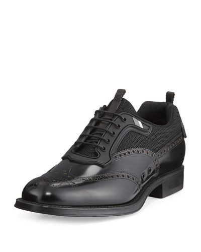 Runway Hybrid Wing-Tip Oxford Sneaker, Black
