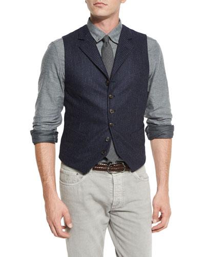 Chalk-Stripe Wool Waistcoat