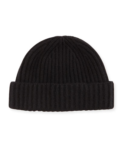 Men's Ribbed Cashmere Beanie Hat