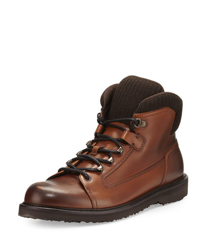 Leather Hiking Boot with Wool Trim, Cognac