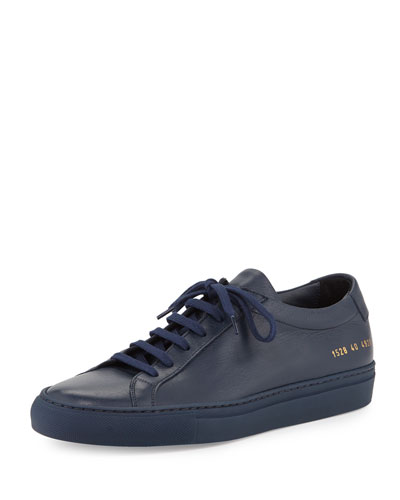 Achilles Leather Low-Top Sneaker, Navy