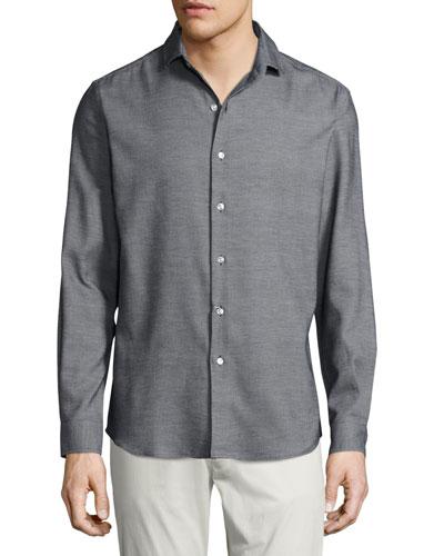 Textured Silk-Cotton Sport Shirt, Black
